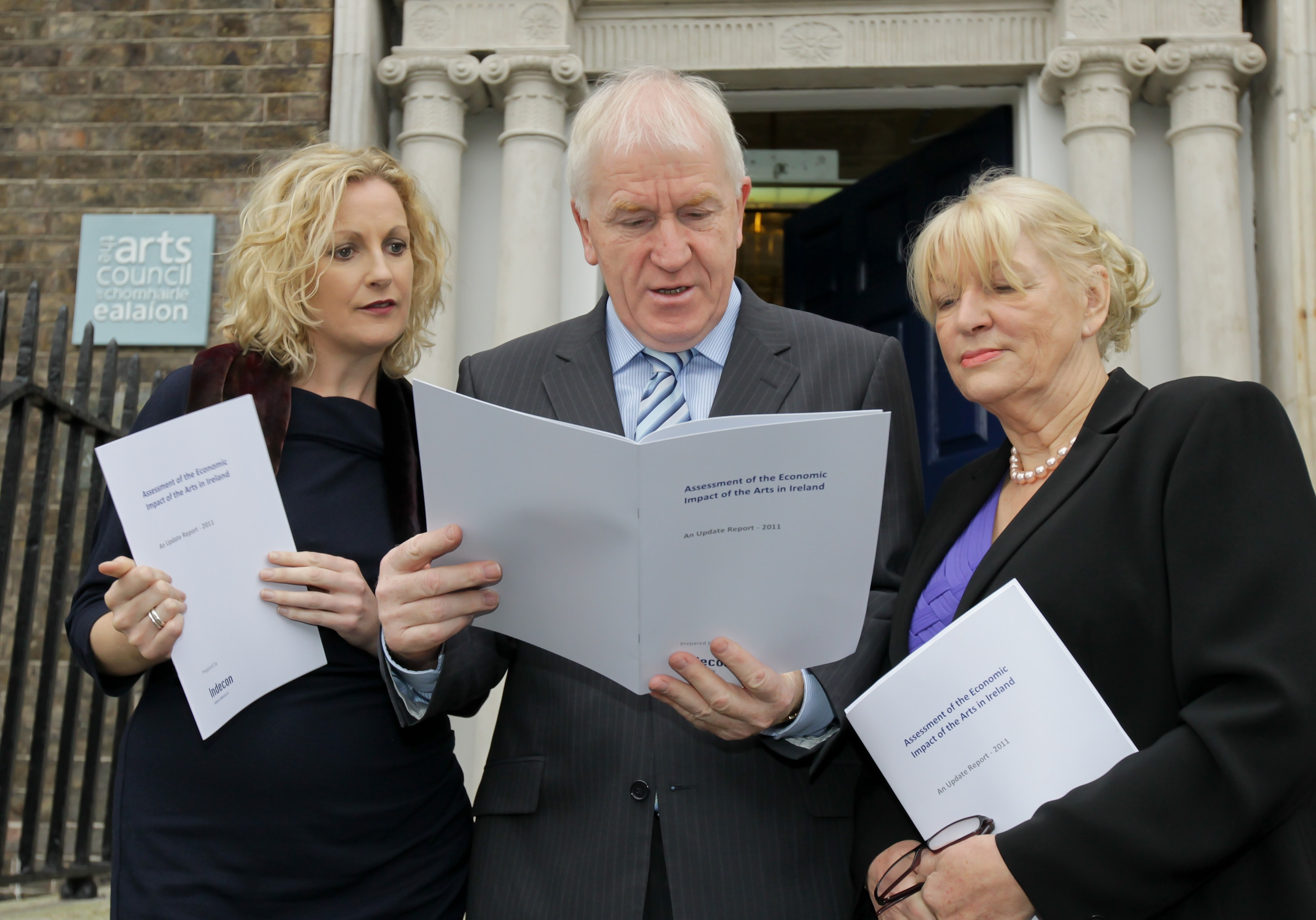 Pictured left to right at the launch of the new Indecon report are: Orlaith McBride, Director, Arts Council, Minister Jimmy Deenihan TD and Pat Moylan, Chairman, Arts Council.