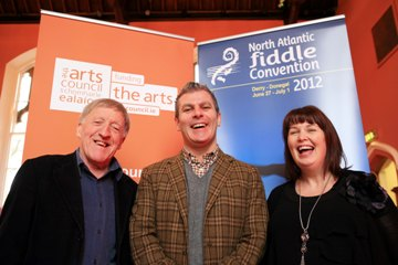 Pictured at the Fiddle Convention launch: Paddy Maloney (The Chieftains), Paul Flynn (Head of Traditional Arts, Arts Council) & Dr Liz Doherty (University of Ulster).
